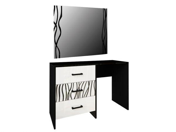 Фото Стіл туалетний з дзеркалом Міромарк «Терра 3ш» 160x120x46 Глянець білий + Мат чорний Розпродажна позиція - SOFINO.UA