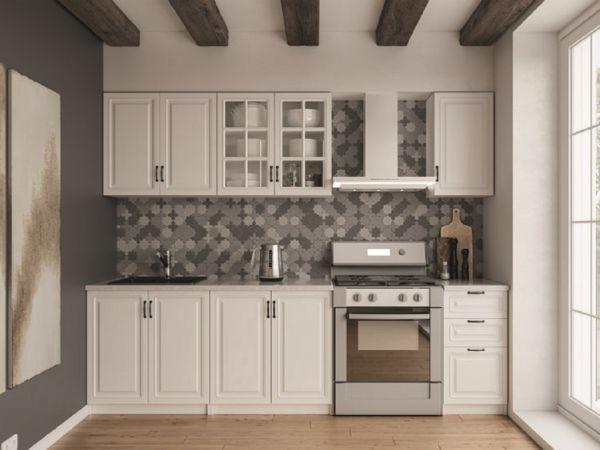 Фото Кухня пряма Париж МДФ, 200 см, Білий Розпродажна позиція - SOFINO.UA