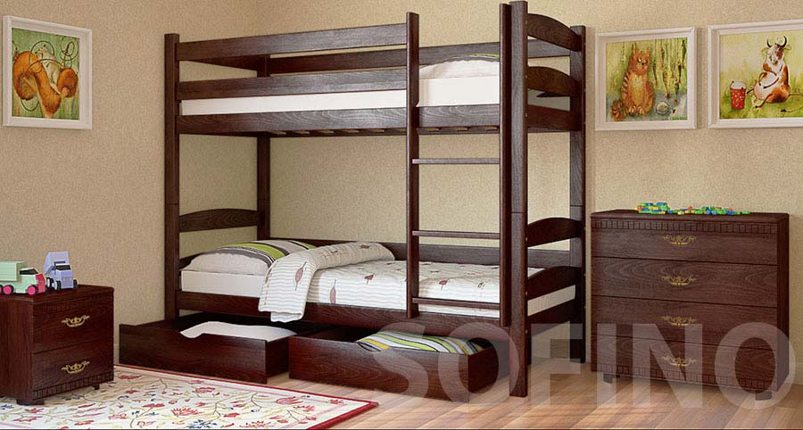 Фото Кровать двухъярусная «Лакки с ящиками» 80*190 Луна - sofino.ua