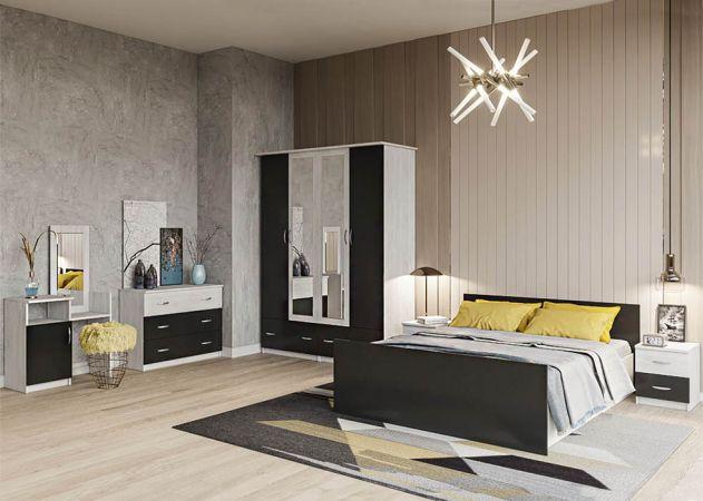 Фото Спальня Соня Аляска + Антрацит (Ліжко, Тумбочки 2 шт, Комод, Шафа 4Д, Туалетка) Розпродажна позиція - SOFINO.UA