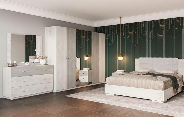 Фото Спальня Вівіан Світ Меблів • Ліжко, 2 тумбочки, Комод 3Ш+3Ш, Шафа 6Д, Дзеркало • Аляска + Моноліт Розпродажна позиція - SOFINO.UA
