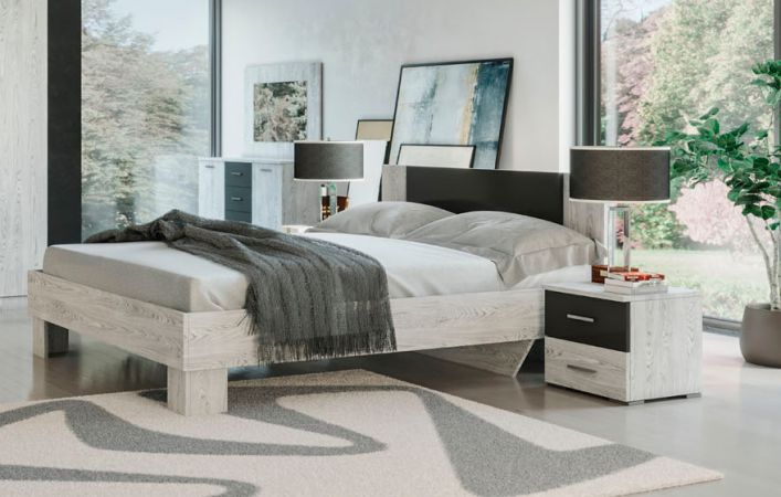 Фото Спальня Лілея Нова Аляска + Антрацит (Ліжко, Тумбочки 2 шт, Комод, Дзеркало) Розпродажна позиція - SOFINO.UA