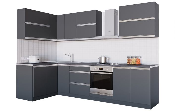 Фото Кухня кутова Альбіна ДСП, 140x290 см, Антрацит Розпродажна позиція - SOFINO.UA