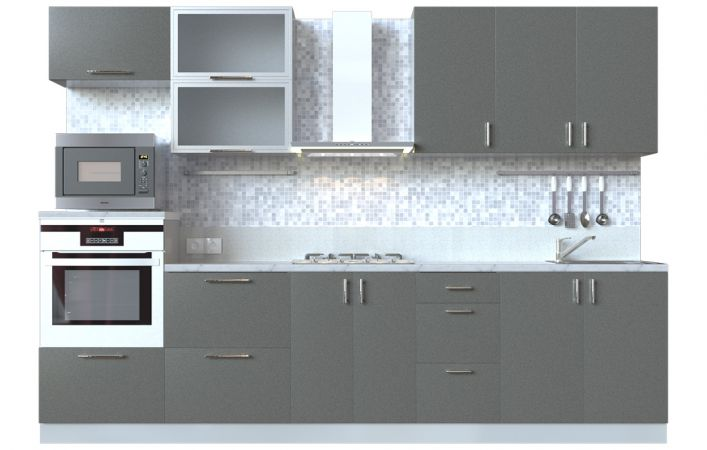 Фото Кухня пряма Мода ВІП мастер • Скло + МДФ • 300 см • Фасад Грей + Корпус Сірий металік Розпродажна позиція - SOFINO.UA