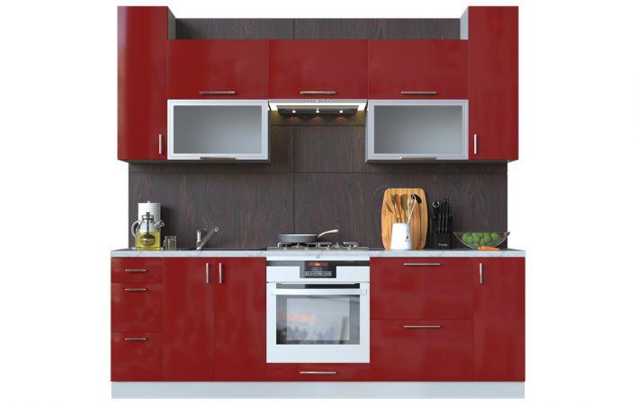 Фото Кухня пряма Мода ВІП мастер • Скло + МДФ • 240 см • Фасад Чері + Корпус Сірий металік Розпродажна позиція - SOFINO.UA