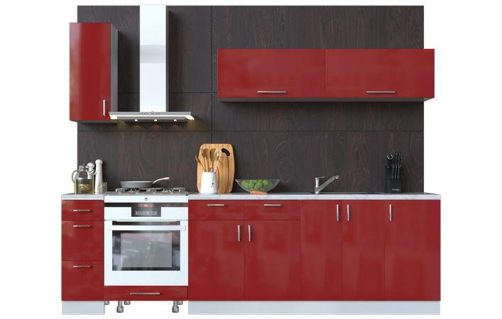 Фото Кухня пряма Мода ВІП мастер • МДФ • 270 см • Фасад Чері + Корпус Сірий металік Розпродажна позиція - SOFINO.UA