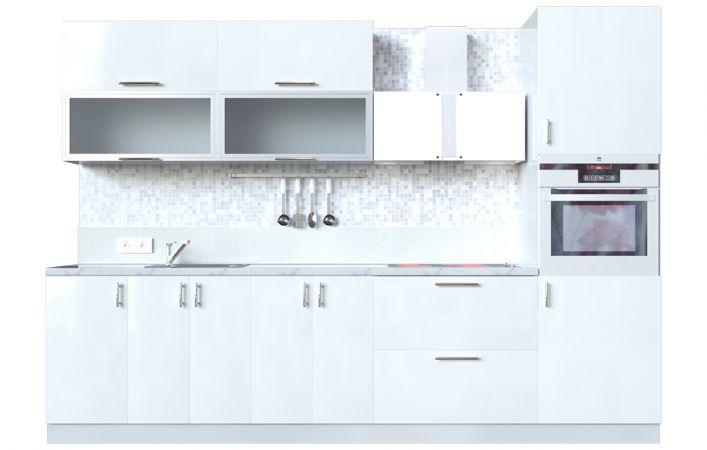Фото Кухня пряма Мода ВІП мастер • Скло + МДФ • 300 см • Фасад Лайт + Корпус Сірий металік Розпродажна позиція - SOFINO.UA