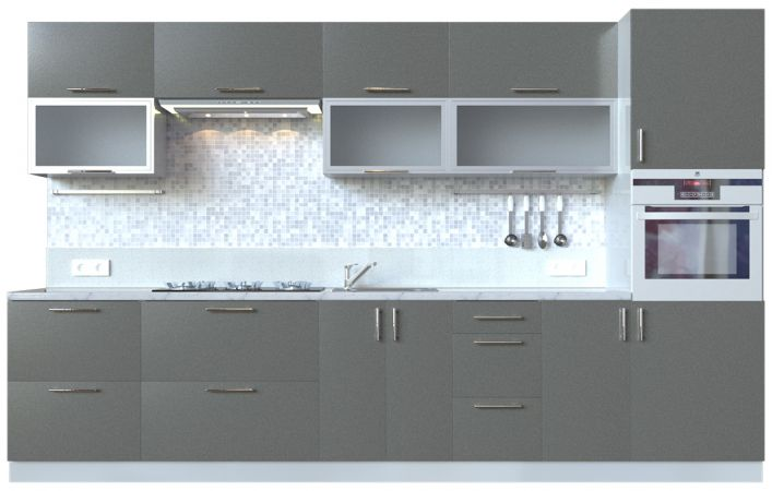 Фото Кухня пряма Мода ВІП мастер • Скло + МДФ • 340 см • Фасад Грей + Корпус Сірий металік Розпродажна позиція - SOFINO.UA