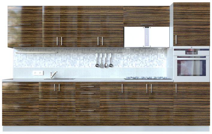 Фото Кухня пряма Мода ВІП мастер • МДФ • 340 см • Фасад Зебрано + Корпус Сірий металік Розпродажна позиція - SOFINO.UA