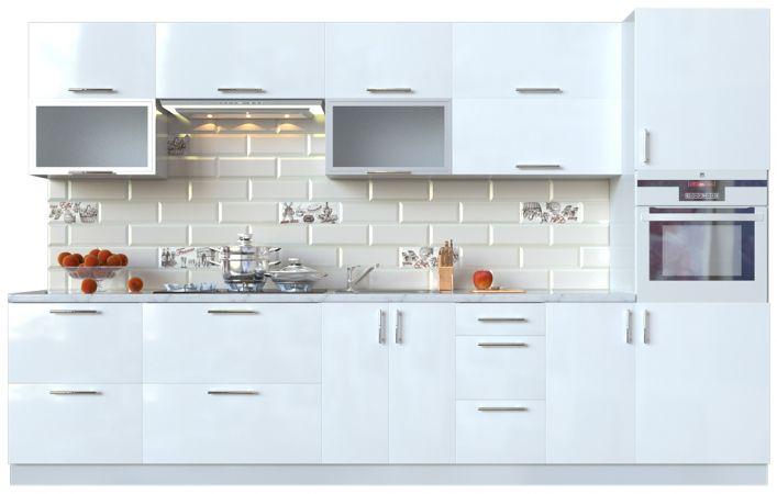 Фото Кухня пряма Мода ВІП мастер • Скло + МДФ • 340 см • Фасад Лайт + Корпус Сірий металік Розпродажна позиція - SOFINO.UA
