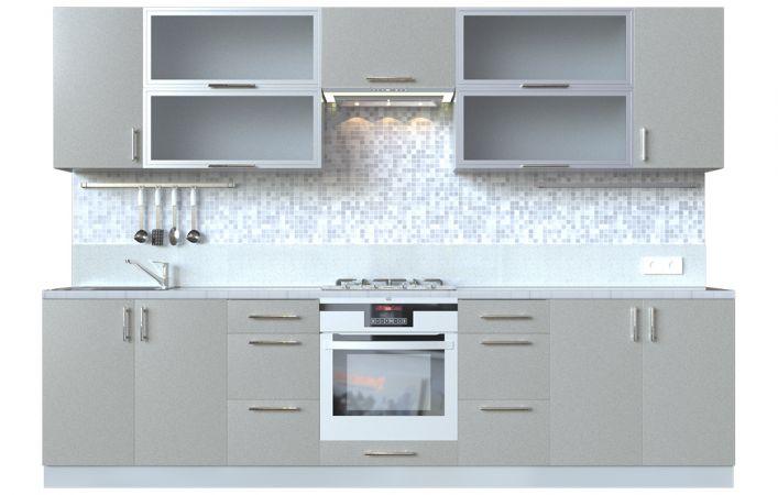 Фото Кухня пряма Мода ВІП мастер • Скло + МДФ • 300 см • Фасад Срібло + Корпус Сірий металік Розпродажна позиція - SOFINO.UA