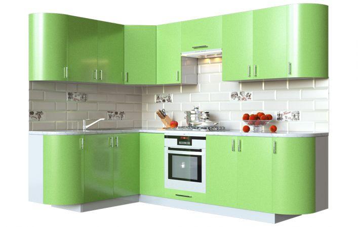 Фото Кухня кутова Мода ВІП мастер • МДФ • 260х150 см • Фасад Фісташка + Корпус Сірий металік Розпродажна позиція - SOFINO.UA