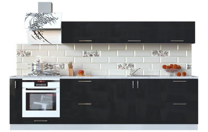 Фото Кухня пряма Мода ВІП мастер • МДФ • 300 см • Фасад Чорний лак + Корпус Сірий металік Розпродажна позиція - SOFINO.UA