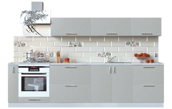 Фото Кухня пряма Мода ВІП мастер • МДФ • 300 см • Фасад Срібло + Корпус Сірий металік Розпродажна позиція - SOFINO.UA