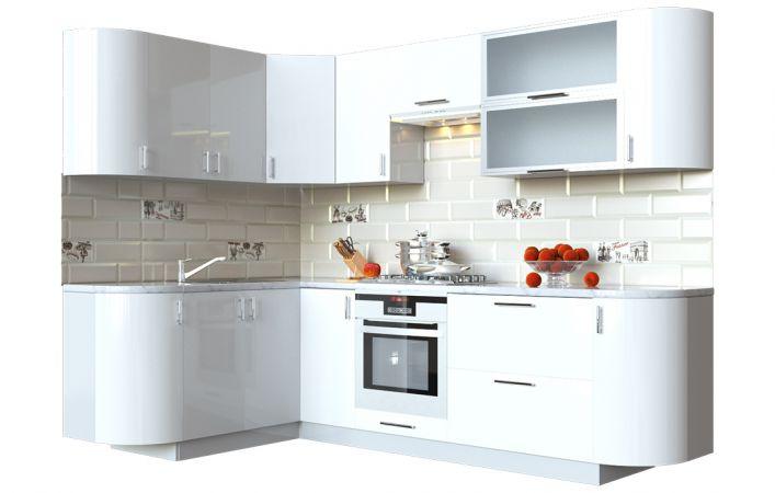Фото Кухня кутова Мода ВІП мастер • Скло + МДФ • 260х150 см • Фасад Лайт + Корпус Сірий металік Розпродажна позиція - SOFINO.UA