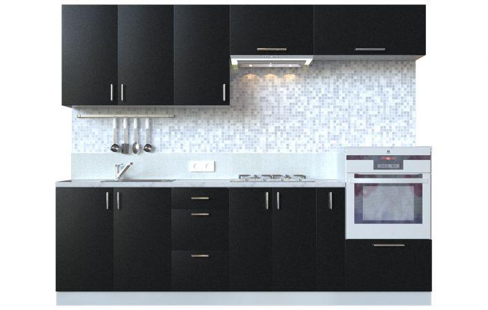 Фото Кухня пряма Мода ВІП мастер • МДФ • 260 см • Фасад Антрацит + Корпус Сірий металік Розпродажна позиція - SOFINO.UA