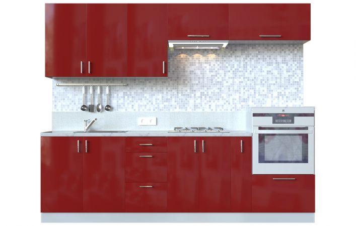 Фото Кухня пряма Мода ВІП мастер • МДФ • 260 см • Фасад Чері + Корпус Сірий металік Розпродажна позиція - SOFINO.UA