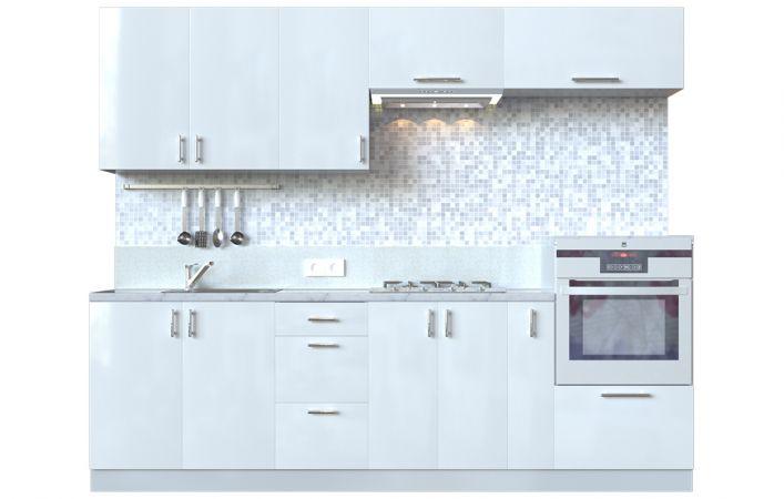 Фото Кухня пряма Мода ВІП мастер • МДФ • 260 см • Фасад Лайт + Корпус Сірий металік Розпродажна позиція - SOFINO.UA