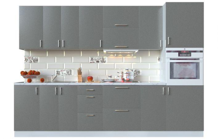Фото Кухня пряма Мода ВІП мастер • МДФ • 300 см • Фасад Грей + Корпус Сірий металік Розпродажна позиція - SOFINO.UA