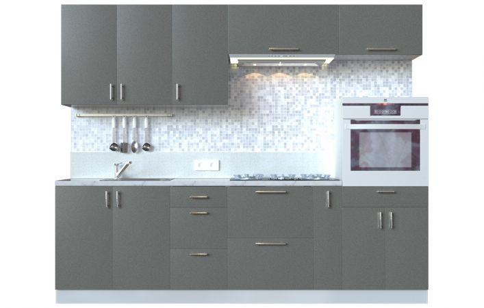 Фото Кухня пряма Мода ВІП мастер • МДФ • 260 см • Фасад Грей + Корпус Сірий металік Розпродажна позиція - SOFINO.UA