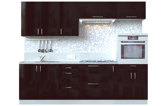 Фото Кухня пряма Мода ВІП мастер • МДФ • 260 см • Фасад Мокко + Корпус Сірий металік Розпродажна позиція - SOFINO.UA