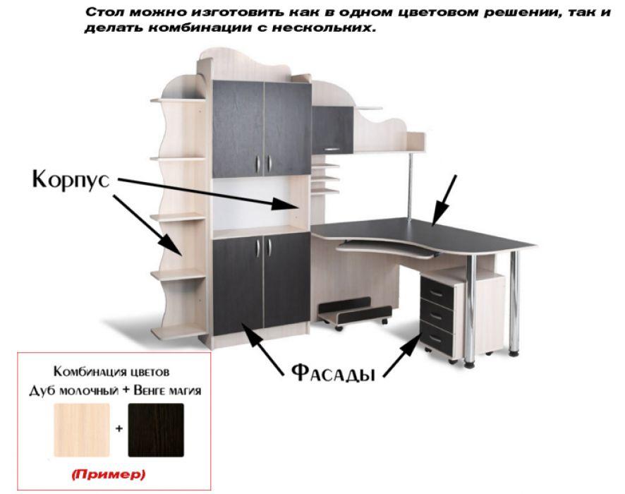 Фото Стол компьютерный СК-7 «Престиж» меламин Tisa mebel - sofino.ua