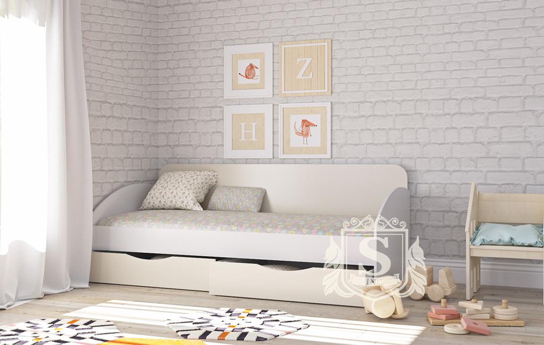 Кровать Вектор «Престиж» с ящиками   меламин