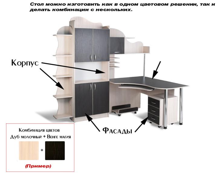 Фото Стол компьютерный СУ-11 «Универсал» меламин Tisa mebel - sofino.ua