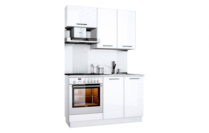 Фото Кухня пряма Б'янка Міромарк • ДСП • 140 см • Фасад Білий глянець Розпродажна позиція - SOFINO.UA