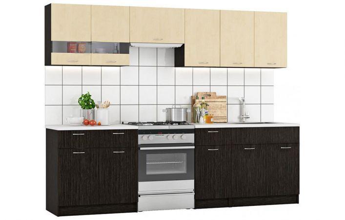 Фото Кухня пряма Марта Світ меблів • Скло + ДСП • 260 см • Фасад Венге темний + Венге світлий + Корпус Венге темний Розпродажна позиція - SOFINO.UA