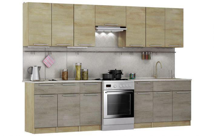 Фото Кухня пряма Марта Світ меблів • ДСП • 300 см • Фасад Дуб сонома + Дуб трюфель + Корпус Дуб сонома Розпродажна позиція - SOFINO.UA
