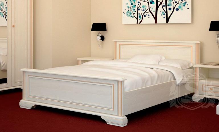 Кровать белая 180 «Вайт» | Сосна золотая