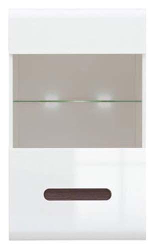 Шкаф навесной SFW_1W/10/6 с подсветкой «Ацтека» | Нимфея Альба | Белый глянец