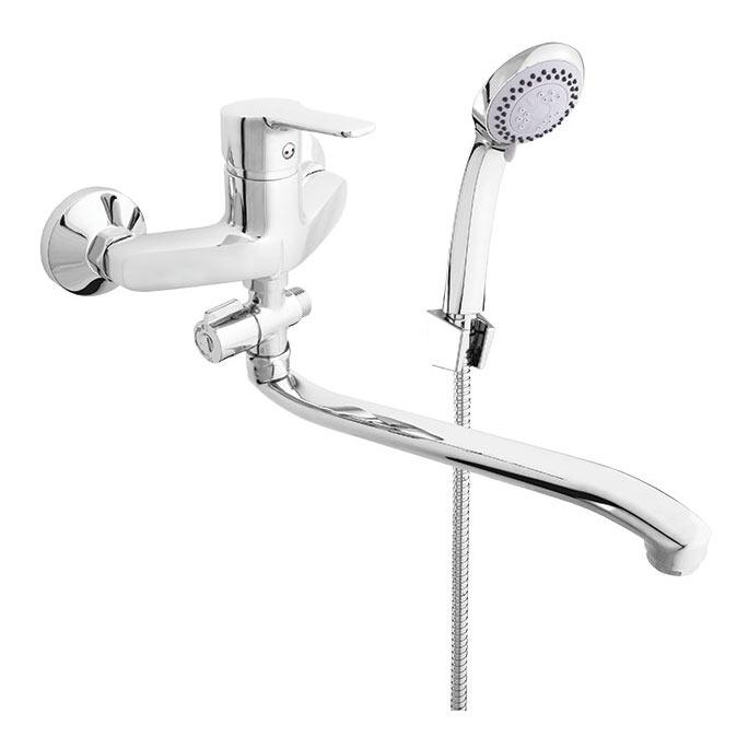 Фото Смеситель для ванны N2GD01 «Uno-12/G» изл. 300 мм лейка шланг Rubineta - sofino.ua