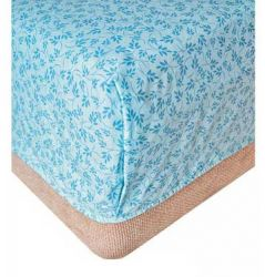 Простынь на резинке «Голубые листья» 160*200+20 см