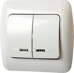 Выключатель 812L«s035020» двухклавишный с подсветкой и рамкой