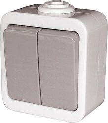 Выключатель  e.dew.1112.gr«p044006» двухклавишный для наружного монтажа