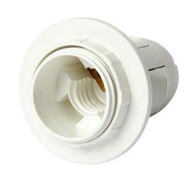 Патрон пластиковый e.lamp socket.E14.pl.white «s9100006» с гайкой