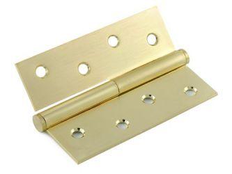 Петля дверная универсальная «H-100 R SB» 100*75*2.5 мм правая матовая латунь