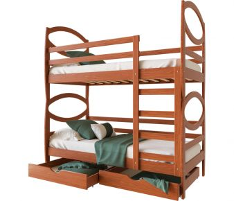 Фото Двухъярусная кровать-трансформер деревянная «Наутилус» Массив Ольхи - sofino.ua