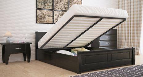 Кровать двуспальная «Квадраты» усиленная с пневмо механизмом