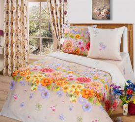 Комплект «Цветочное панно» бежевый двуспальный