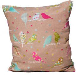 Подушка з наволочкою декор «Птички гобелен» серый 40*40