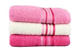 Фото Набор махровых полотенец «Cotton» фуксия   розовые   крем - sofino.ua