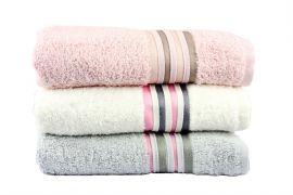 Фото Набор махровых полотенец «Cotton» серый | крем | пудра - sofino.ua