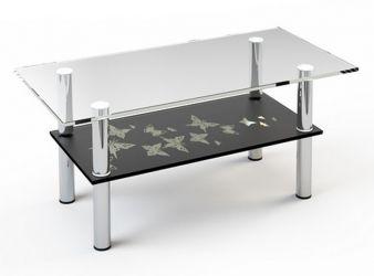 Журнальный стол «JTS 012» 100*50 (Верх прозрачный, низ рисунок)
