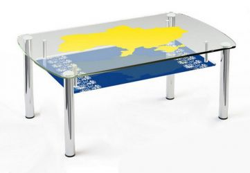 Журнальный стол «JTS 014» 90*60 (Верх прозрачный, низ рисунок)