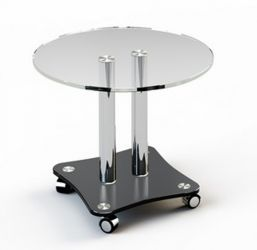 Журнальный стол «JTR 001» D55 (Верх прозрачный, низ рисунок)