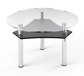 Журнальный стол «JTR 002» D80 (Верх прозрачный, низ рисунок)