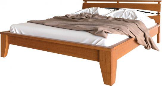 Фото Кровать деревянная «Венеция с кованным изголовьем» Массив Ольхи - sofino.ua
